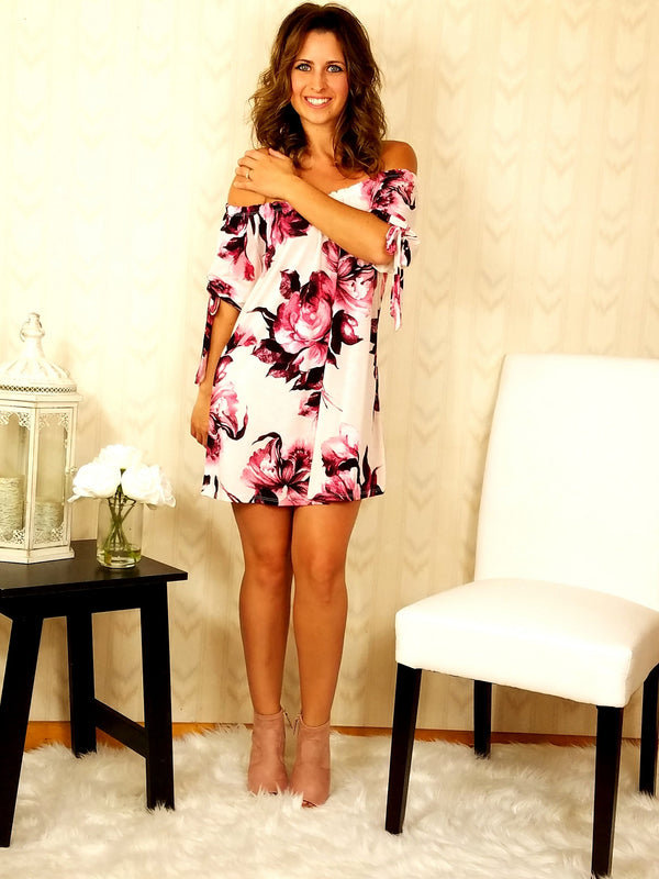 Petals and Bows Pink Tie-Sleeve Dress