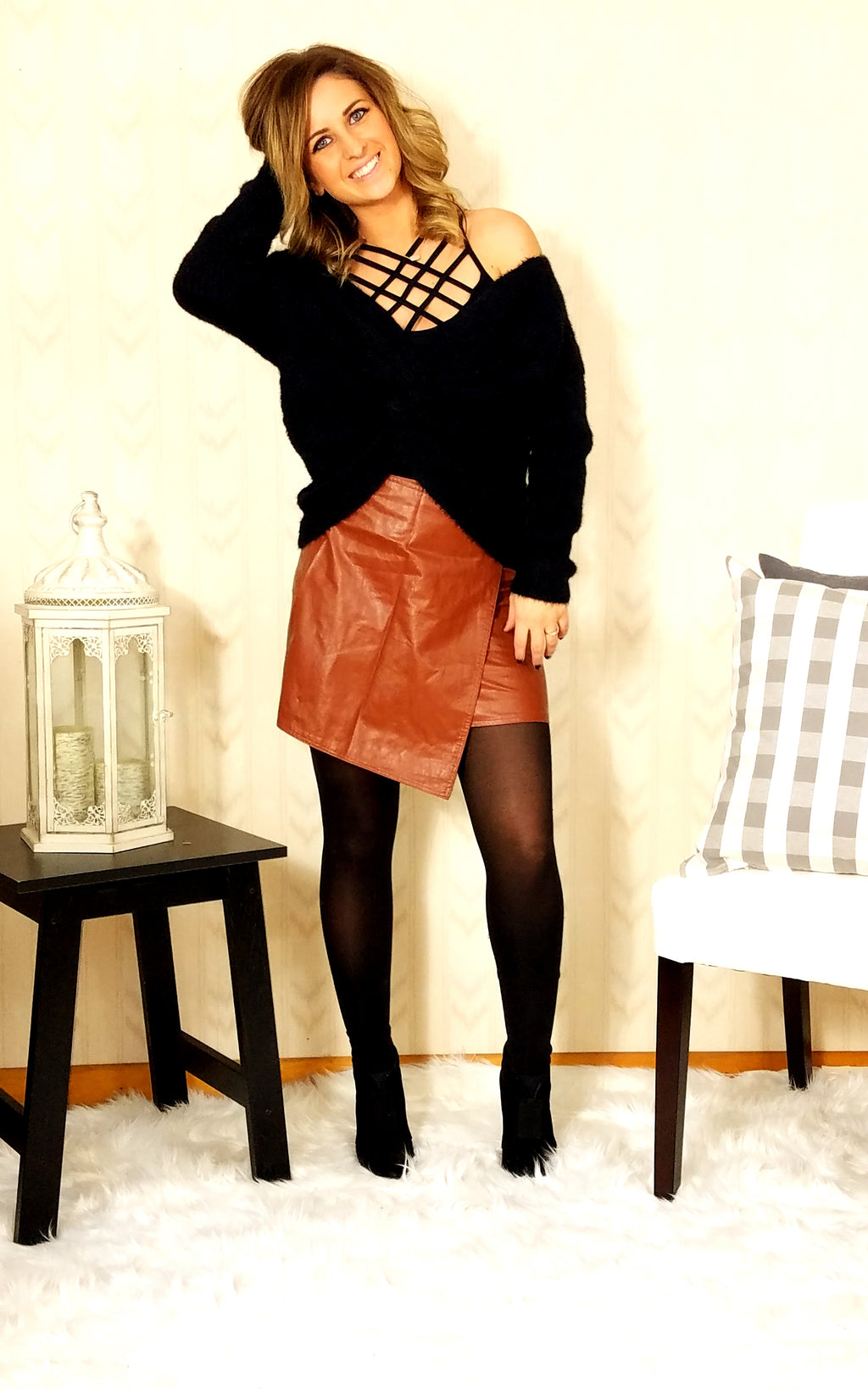 Wear Me Wrong Faux Leather Skirt