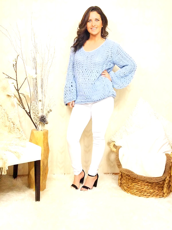 Kelly Blue V-Neck Sweater