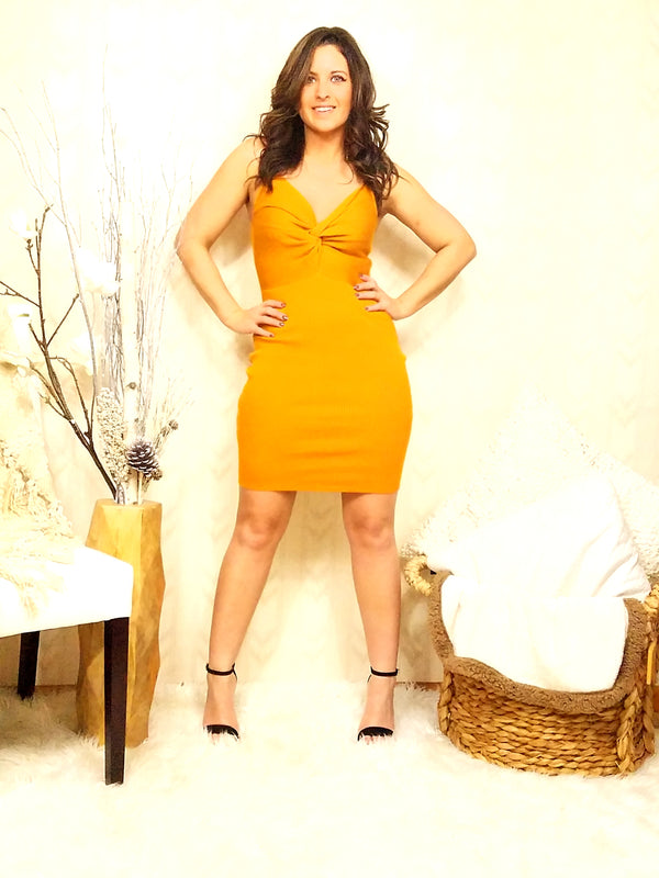 Cassie Mustard Bodycon Dress