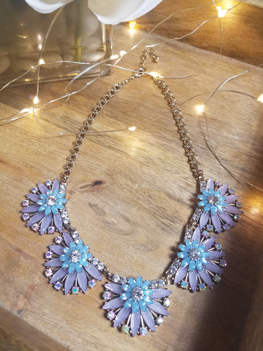 Purple and Blue Daisies Gem Necklace