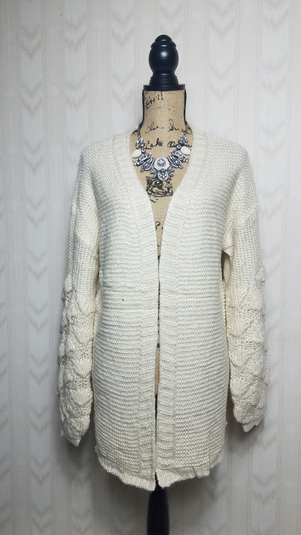 Ava Bubble Sleeve Cream Cardigan