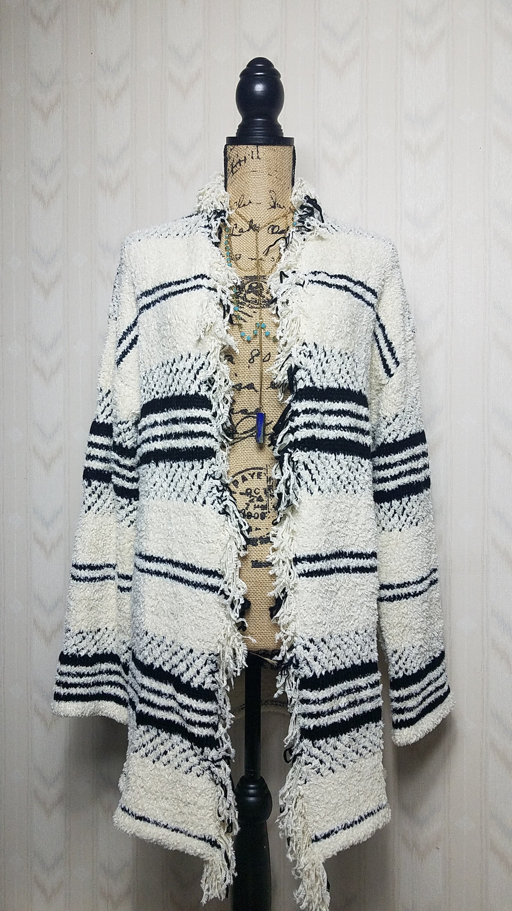 Lana Black and White Fringed Cardigan