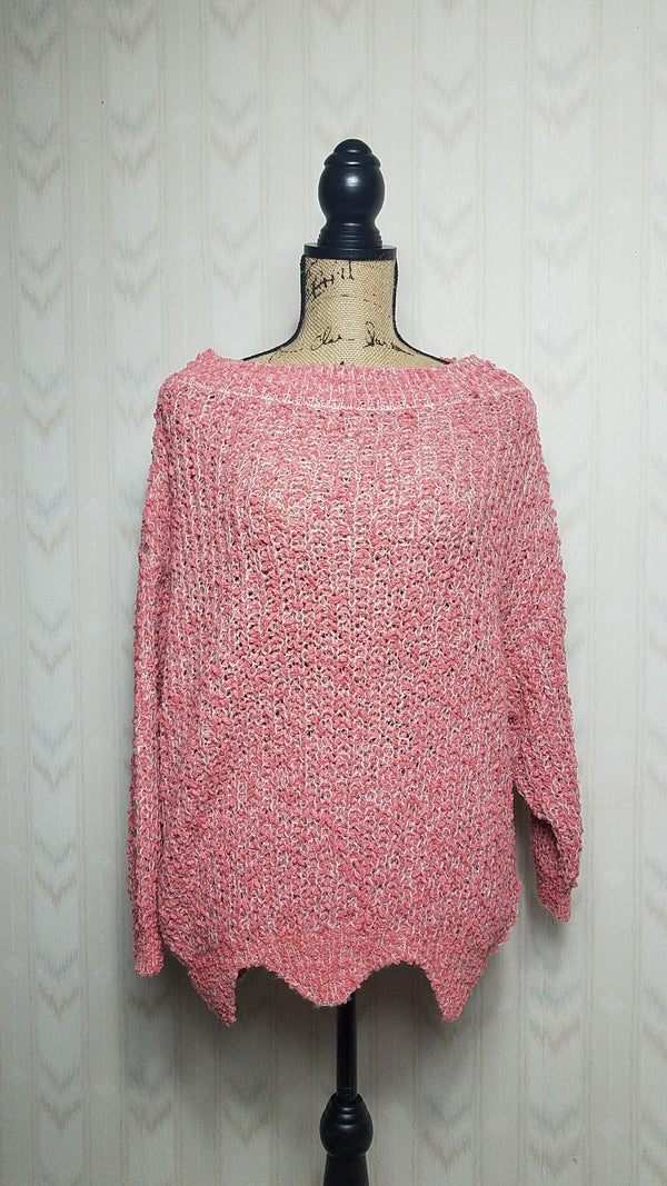Polly Popcorn Coral Knit Sweater