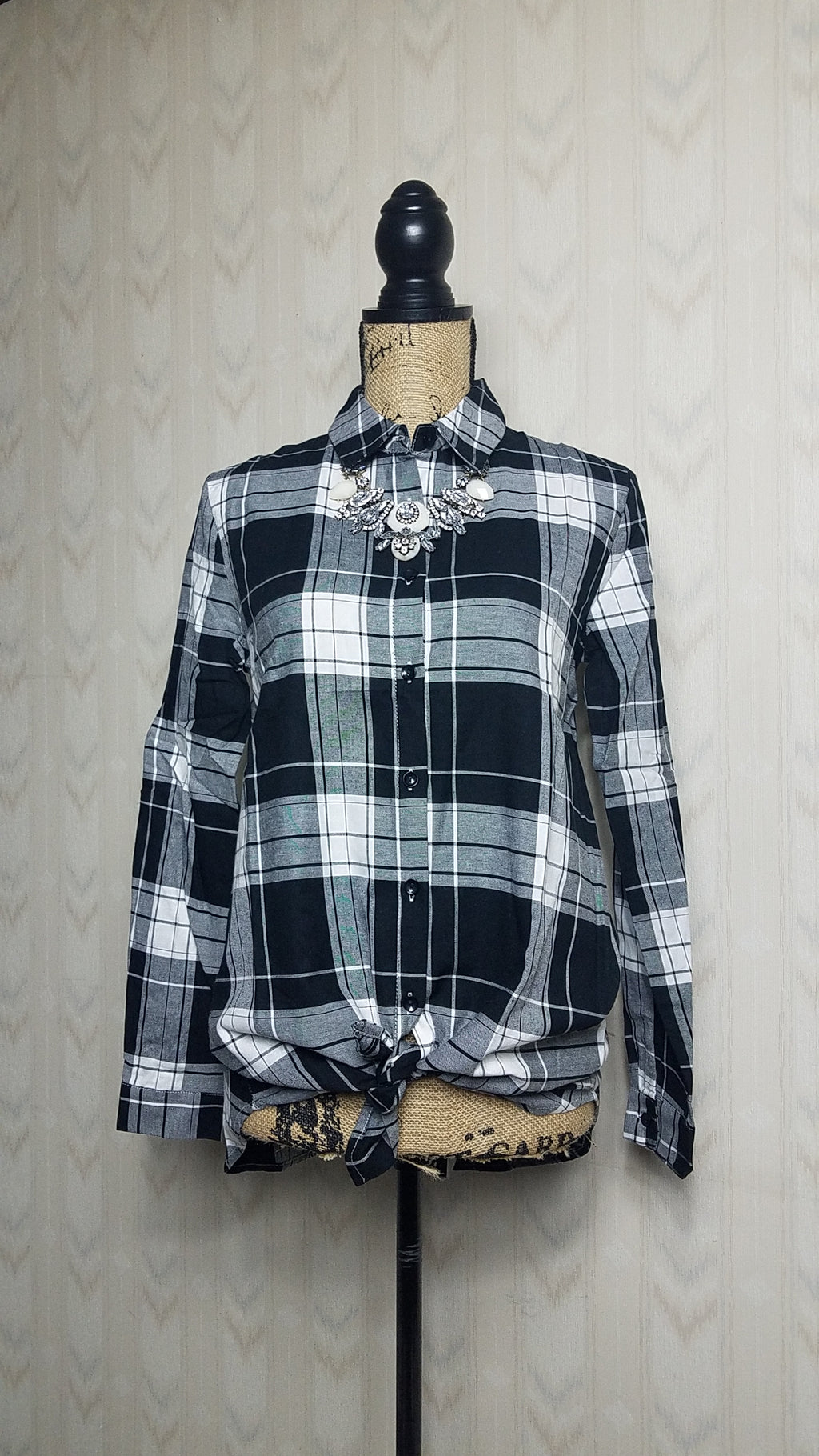 Ashley Black and White Plaid Button-Up Top