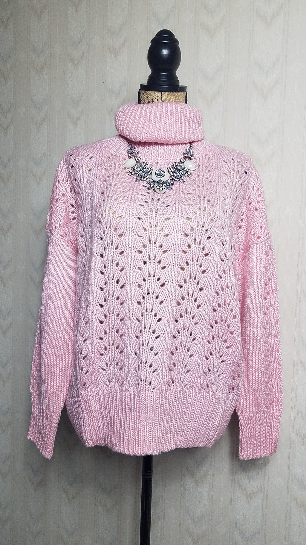 Tanya Chunky Knit Pink Turtle Neck Sweater