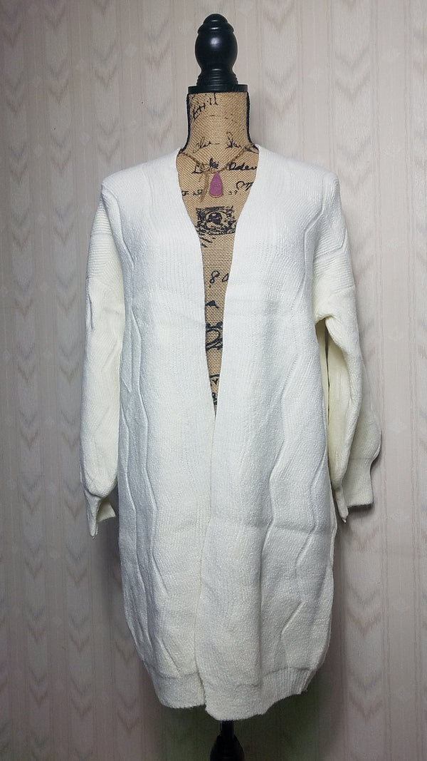 Taylor White Puff Sleeve Sweater Cardigan