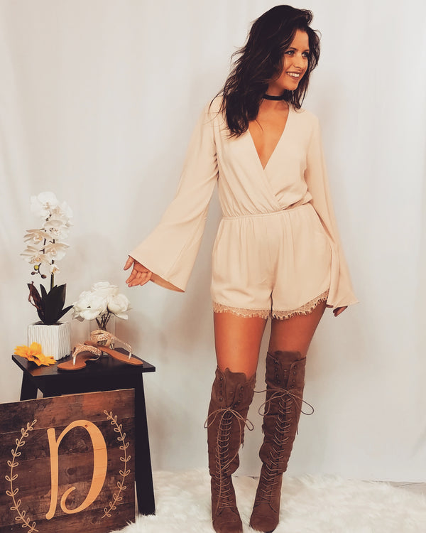 Don't Make Me Blush Cross Over Long-Sleeve Woven Romper