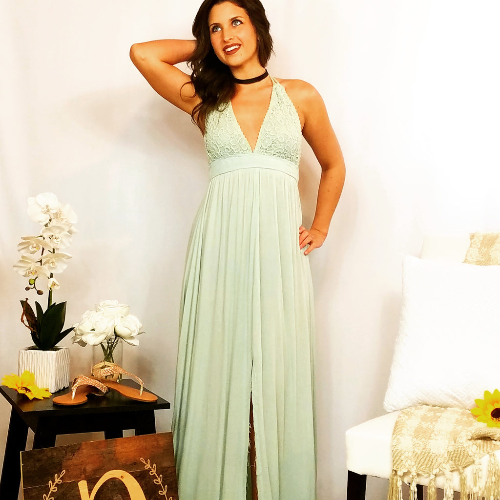 Sassy Slit Crochet Maxi Dress