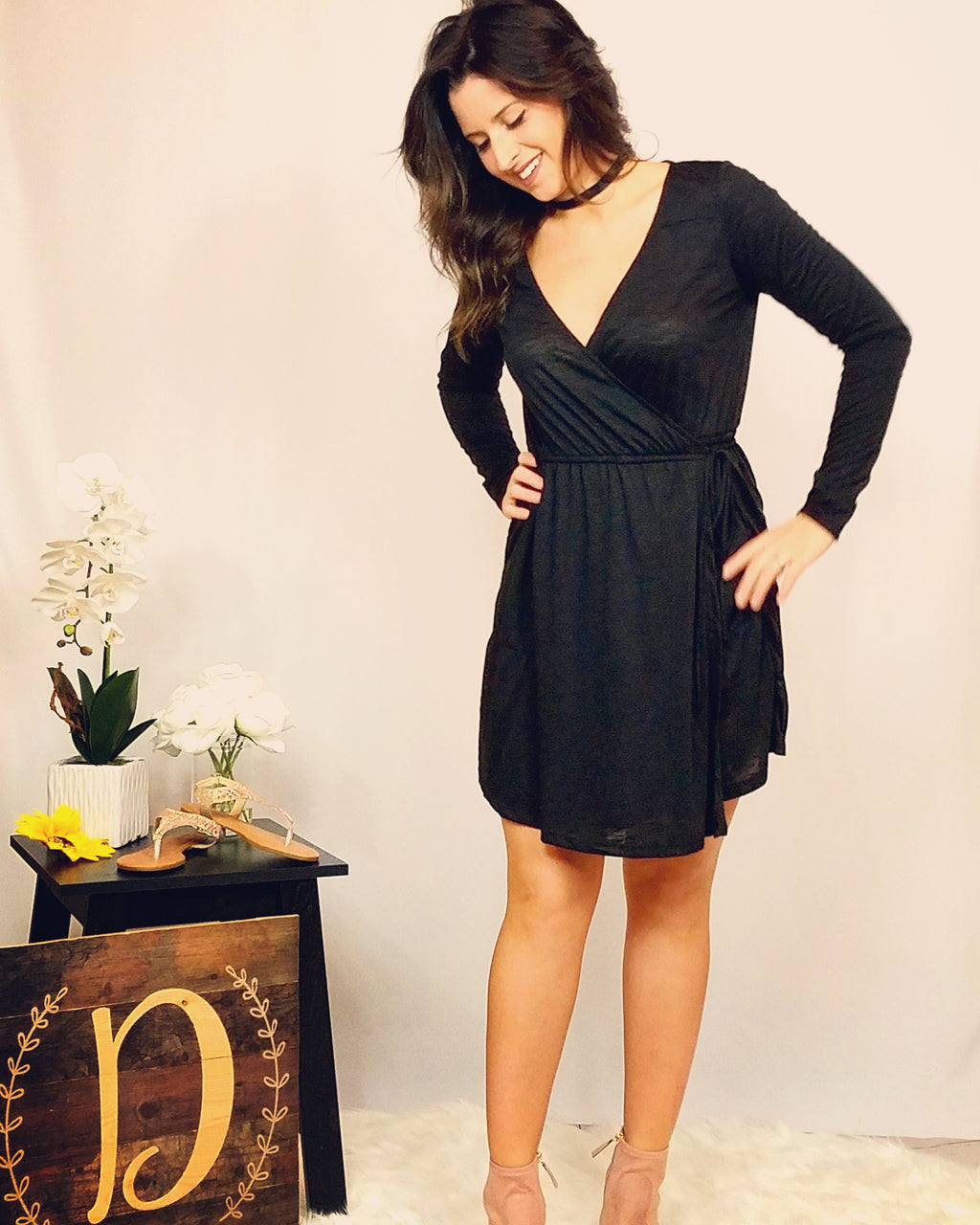 Wrap Me Up Tight Long Sleeve Wrap Dress