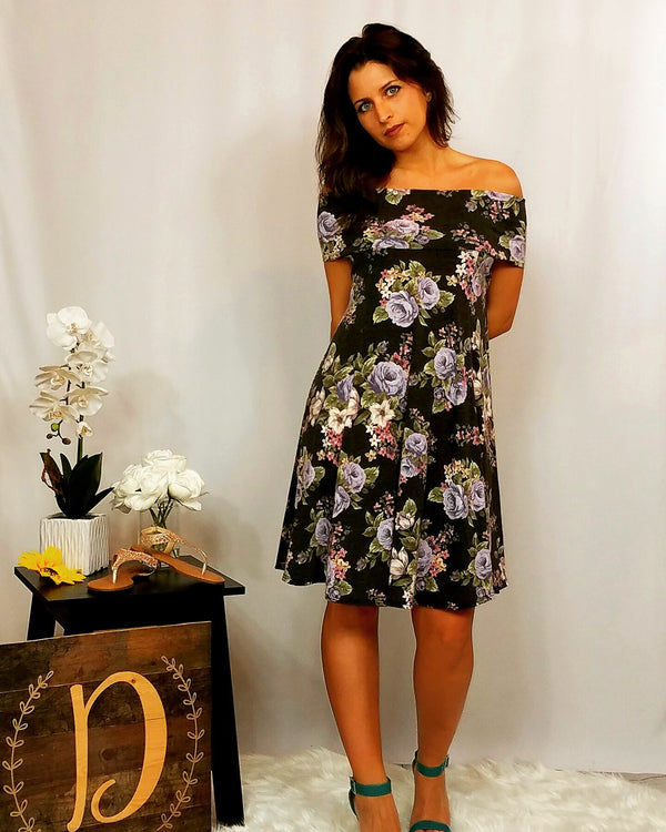 Color Me Floral Off Shoulder Black Floral Dress