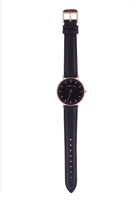 Classic Black Rose Gold Watch with Black Strap