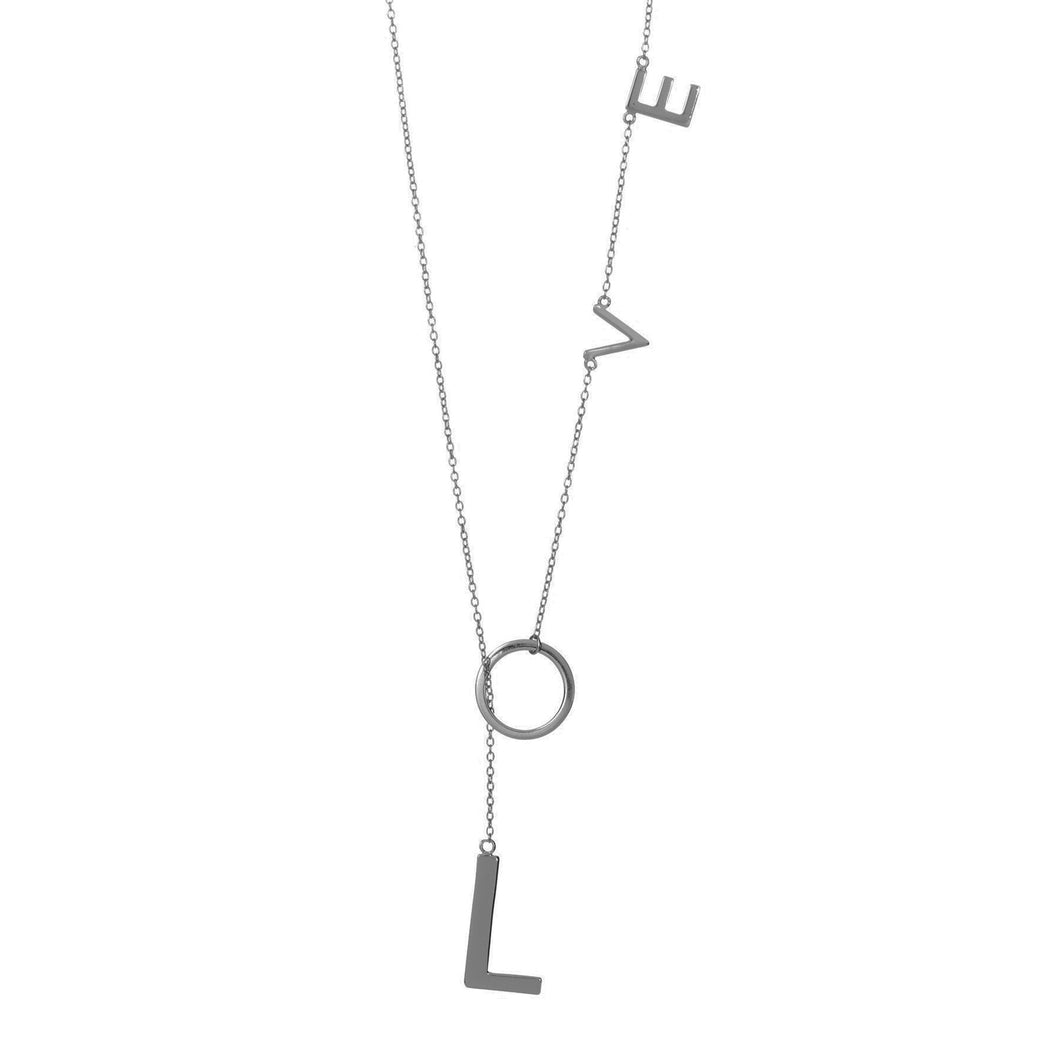 LOVE LARIAT SILVER NECKLACE