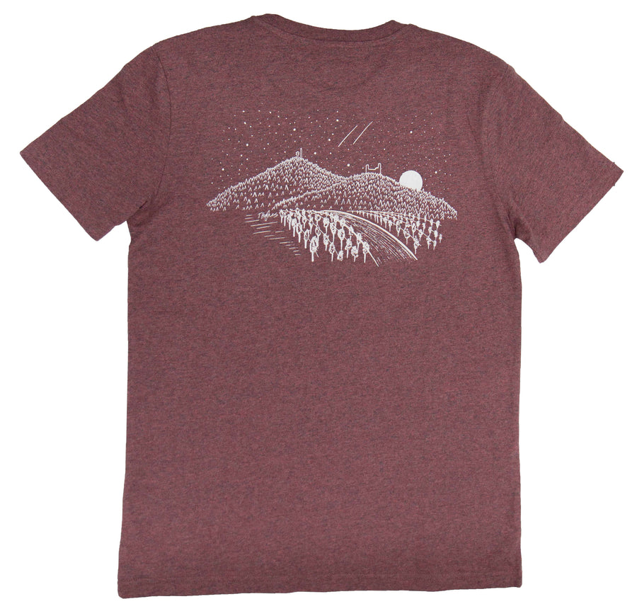 T-Shirt + Backprint | Heather Cranberry