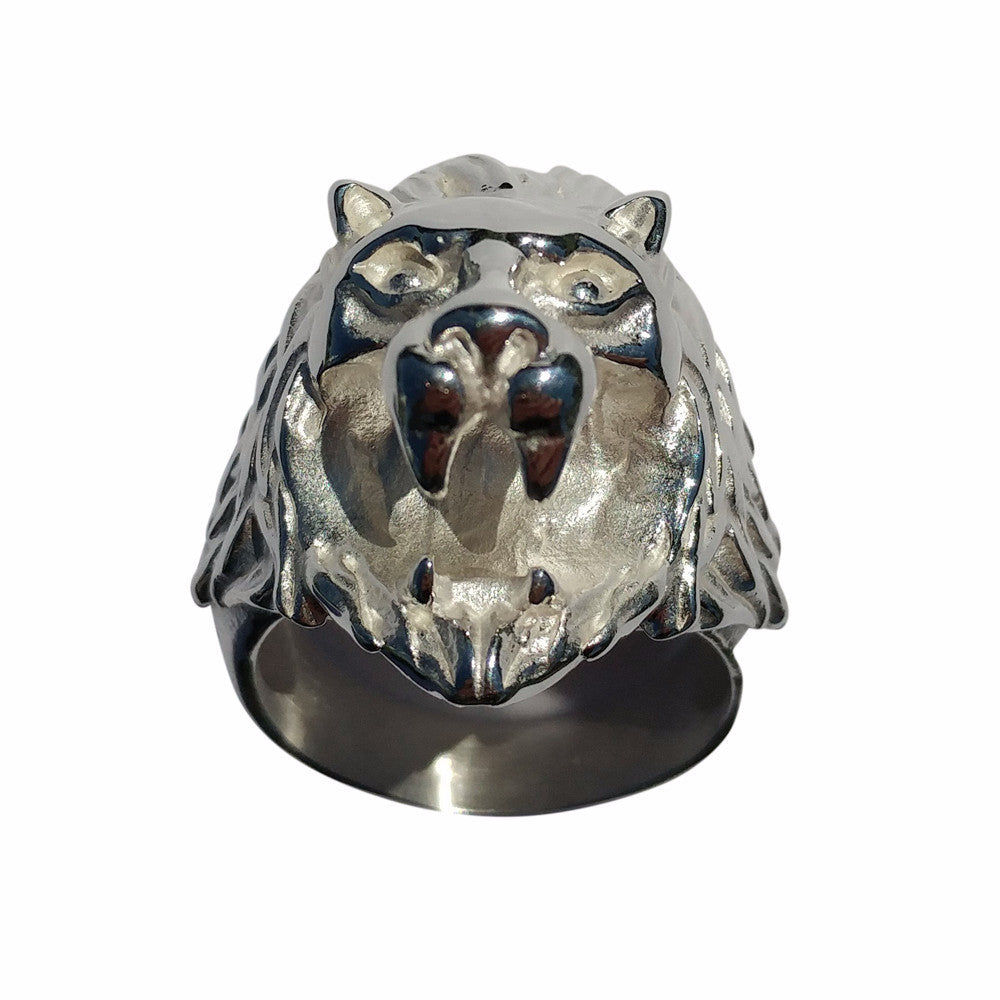 Cali Polished Steel Lion Ring