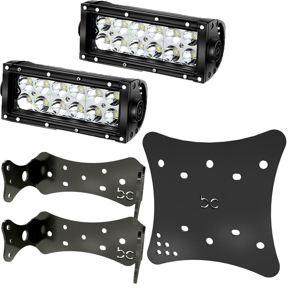 "Multi-Fit LED Light Bar Combo + LED 7"" Light Bar (2pcs) + Multi-Fit HeadLight Plate (Powder coated)"