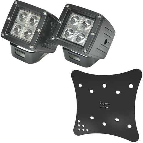 Multi-Fit LED POD Lights (2pcs) + Multi-Fit HeadLight Plate (Powder coated)