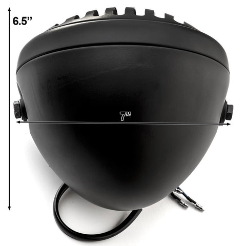 "Custom 7"" Matte-Black Round Finned Grill Bobber Headlight"