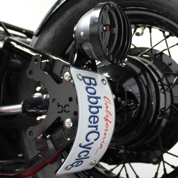 Custom Round Finned Grill Bobber Brake license plate Brake Light