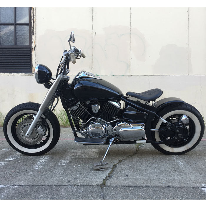 Yamaha V-Star Dragstar XVS650 Solo Seat Bobber Conversion With 16 White Diamond Seat BobberCycle
