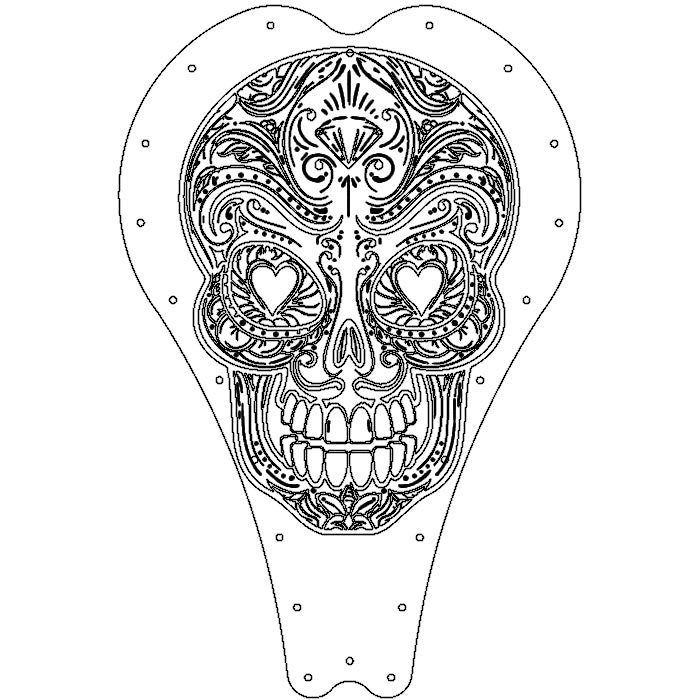 Art series Leather Sugar Skull Bobber Chopper Solo Seat