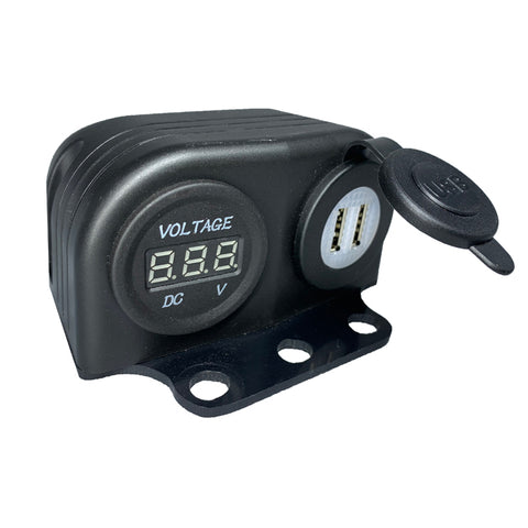 USB Dual Charger + VoltMeter & Bag Mount