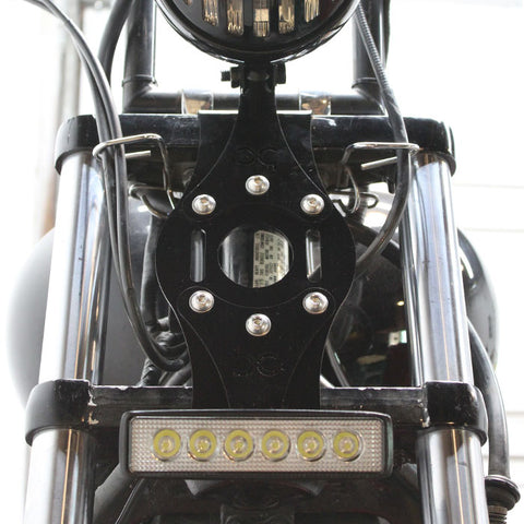 Custom Matte-Black Clear Lens Triangle Bobber Headlight