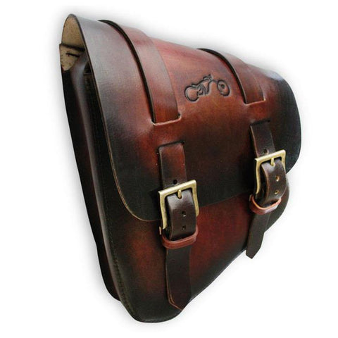 Custom Saddle Bag - Left Side SwingArm - Hand Dyed Antique Leather