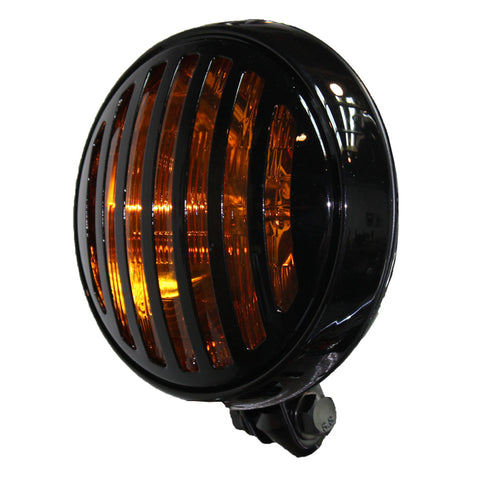 Finned Grill Amber Lens Round Headlight