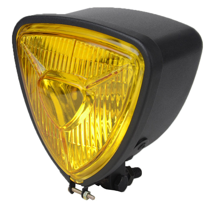 Custom Matte-Black Yellow Lens Triangle Bobber Headlight