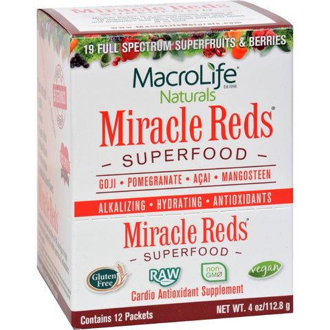 Macrolife Naturals Miracle Reds Antioxidant Super Food - 12 Packets Of .33 Oz