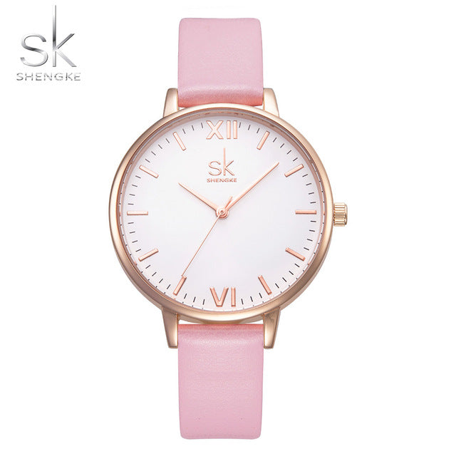 Pink Leather Band Top Women's Quartz Watch