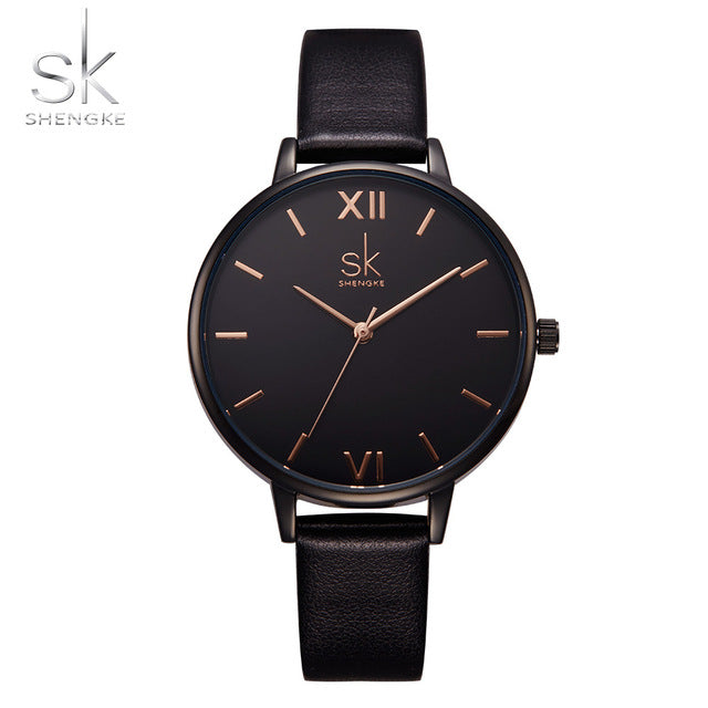 Black Leather Band Top Women's Quartz Watch