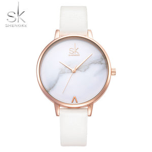 White Leather Band Top Women's Quartz Watch