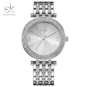 Women's Luxury Silver Crystal Watch