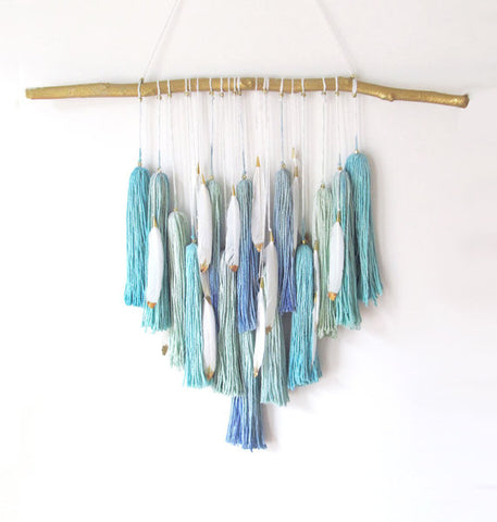 teal wall hanging peach stream