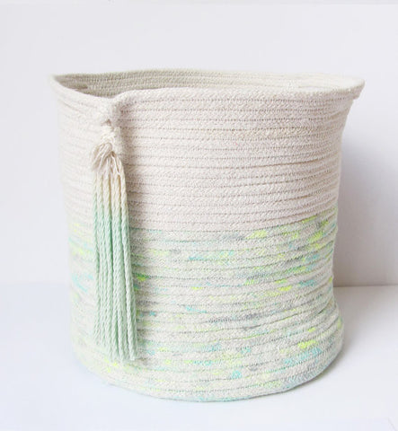 teal rope basket peach stream