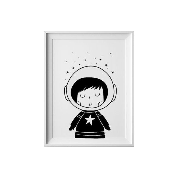 Little Astronaut Girl, Wall Prints - Peach Stream