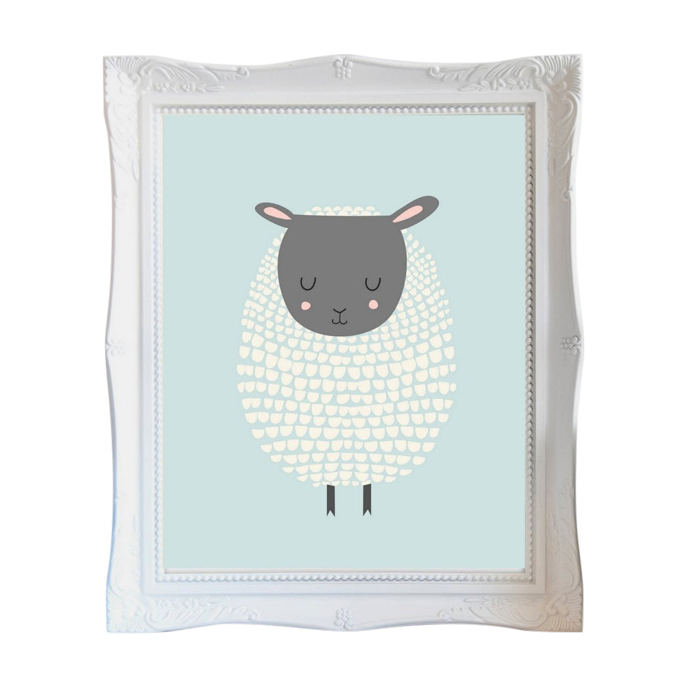Blue Sheep, Wall Prints - Peach Stream