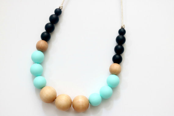 Teal Teething Necklace, Teether - Peach Stream