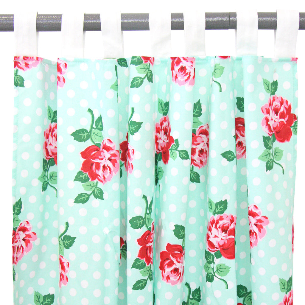 Lucy's Mint Rose Curtains, Curtains - Peach Stream