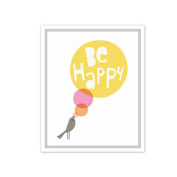 Be Happy, Wall Prints - Peach Stream