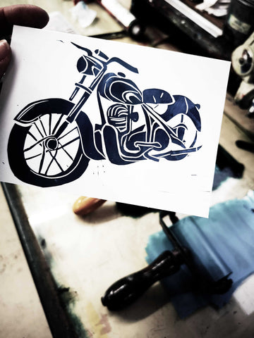 Blue and green motorbike lino print cards hand printed