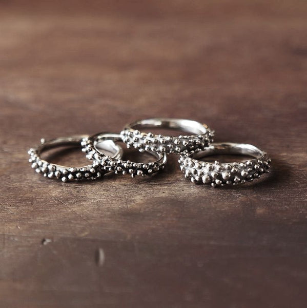 Hex Silver Stud Ring