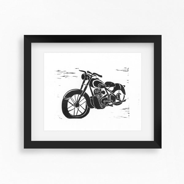 Bike Night Lino Print by Dorset Printmaker Hex Cavelli