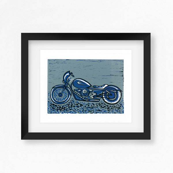 Harley Davidson Motorbike Linocut Print - blue, navy and black
