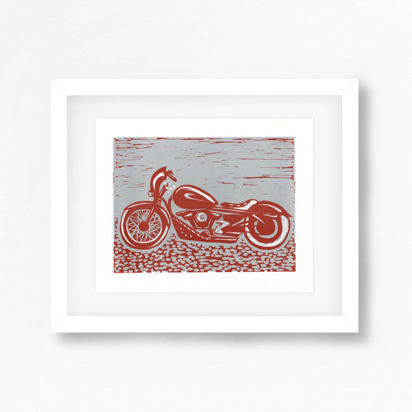 Harley Davidson Motorbike Linocut Print in Red and Grey
