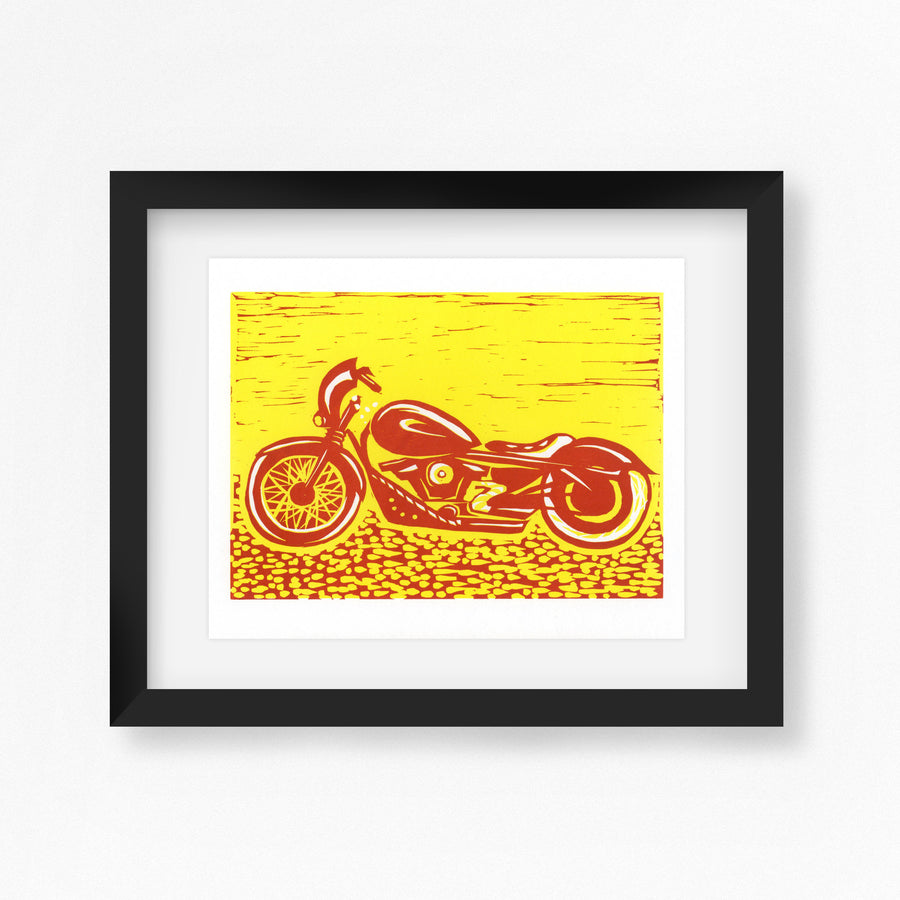 Harley Davidson Motorbike Linocut Print in Racer Red and Yellow