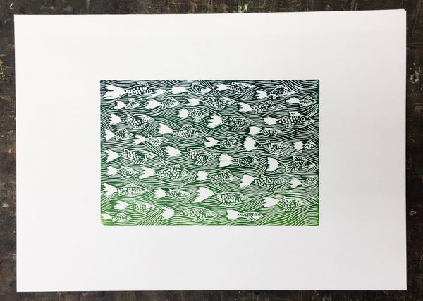 Swimming Fish Print on Ho-Sho Paper