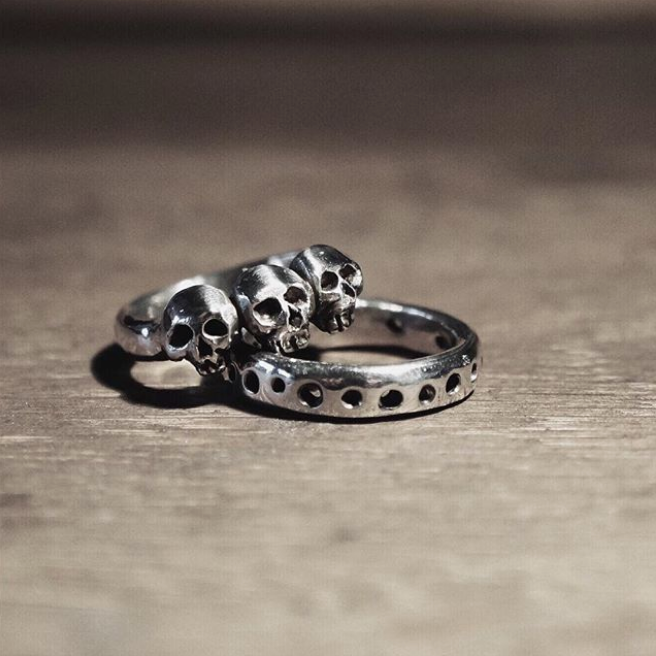 Triple Skull Ring Sterling silver jewellery